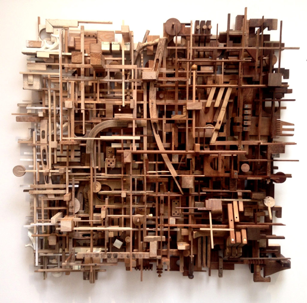 Lesley Hilling 'El Barrio' 2016 33 x 33 inches / 85 x 85 cm Antique wood and piano parts