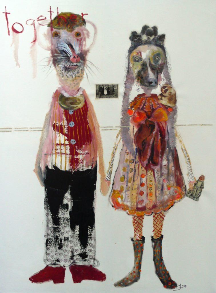 Juliane Hundertmark 'Together' 2015, 31 x 23 inches / 80 x 60 cm Mixed media on paper